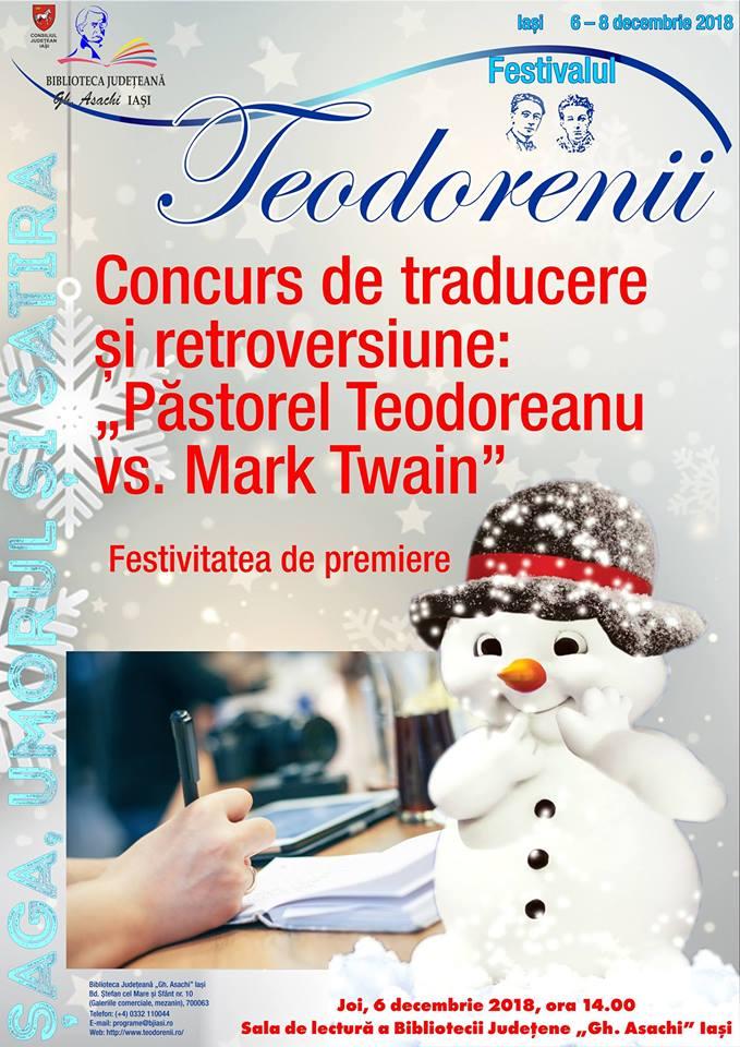 """Concursului de traducere și retroversiune """"Păstorel Teodoreanu vs. Mark Twain"""""""